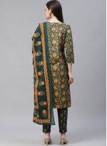 Printed Cotton Green Designer Suit