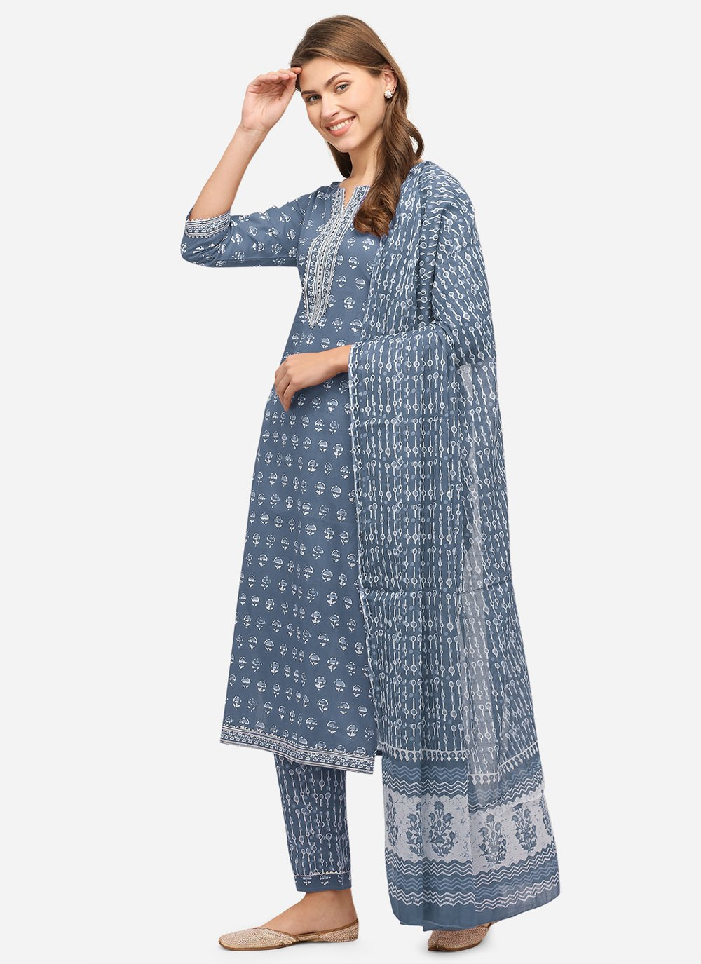 Printed Cotton Grey Readymade Suit