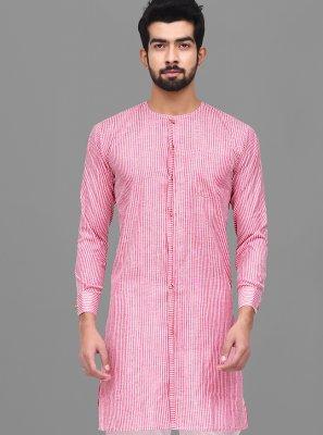 Printed Cotton Kurta Pyjama in Pink