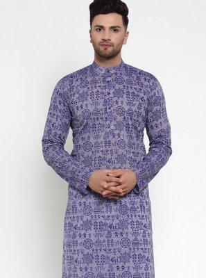 Printed Cotton Kurta Pyjama in Purple
