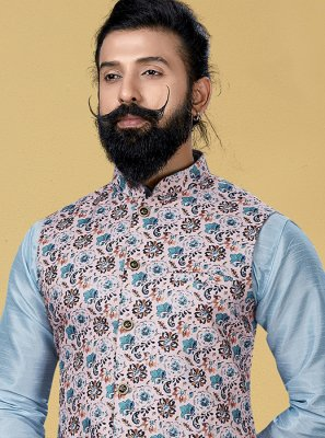 Printed Cotton Nehru Jackets in Peach