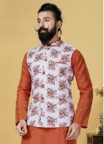 Printed Cotton Nehru Jackets in White