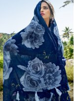Printed Cotton Printed Saree in Blue