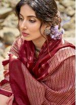 Printed Cotton Printed Saree in Maroon