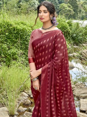 Printed Cotton Printed Saree in Maroon