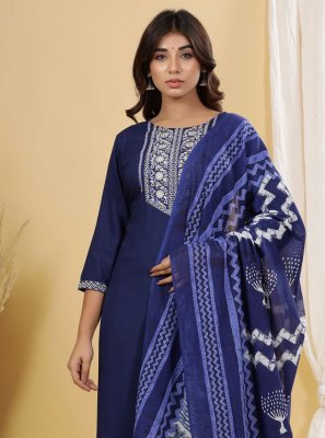 Printed Cotton Readymade Suit in Blue