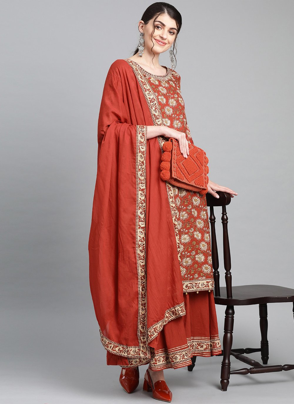 Printed Cotton Readymade Suit in Brown