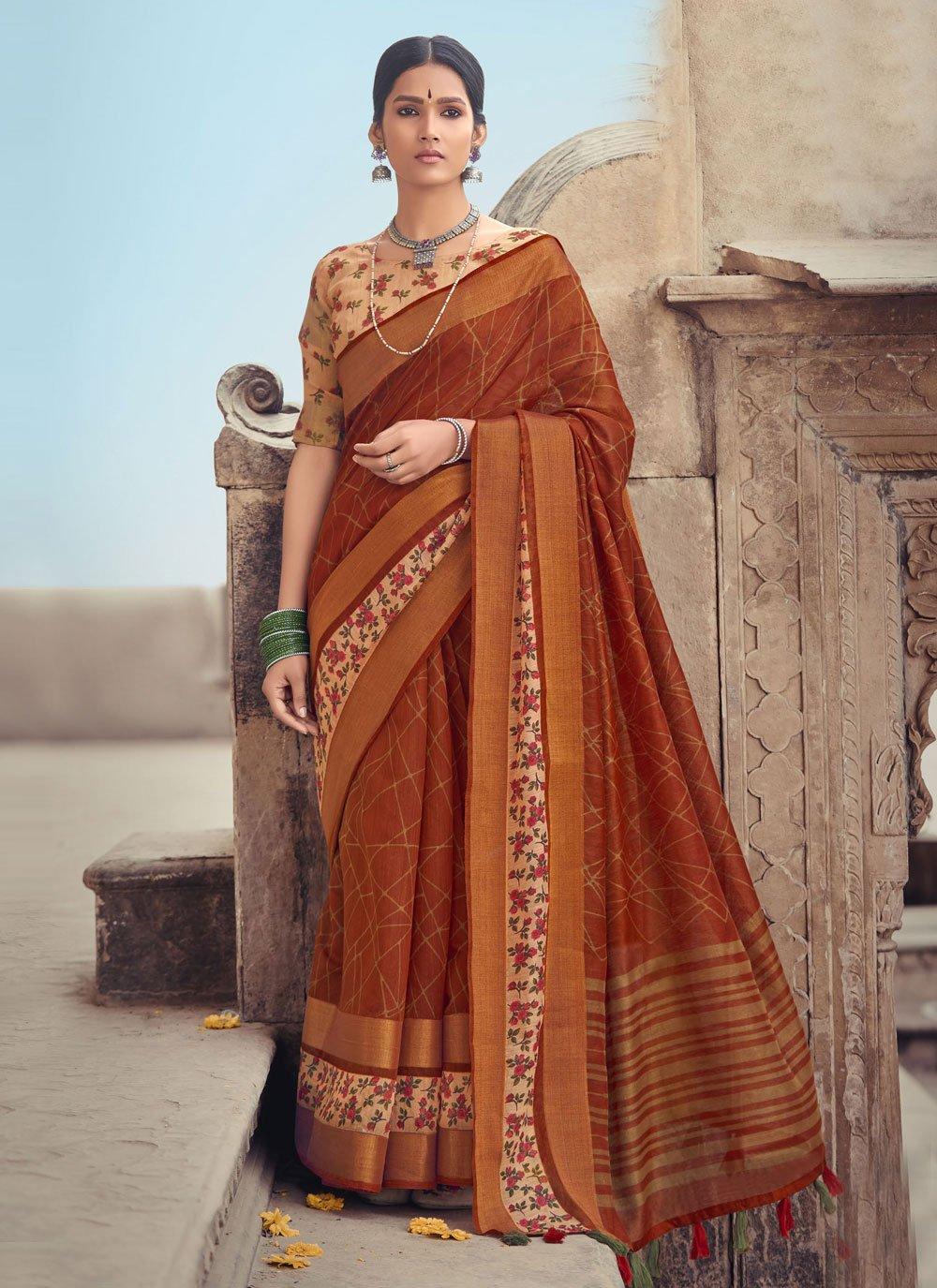 Printed Cotton Silk Rust Printed Saree