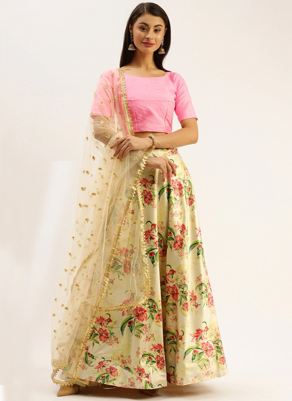 Printed Cream A Line Lehenga Choli