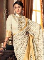 Printed Cream Traditional Designer Saree