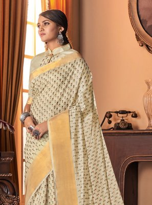 Printed Cream Traditional Designer Saree