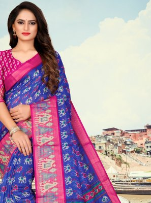 Printed Fancy Fabric Blue Printed Saree