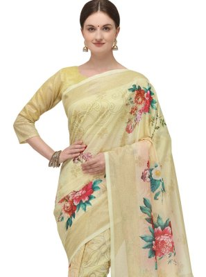 Printed Fancy Fabric Cream Printed Saree