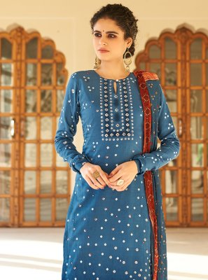 Printed Fancy Fabric Designer Palazzo Salwar Suit in Blue