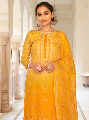 Printed Fancy Fabric Designer Palazzo Salwar Suit in Yellow