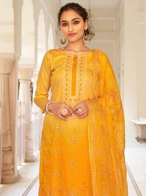 Printed Fancy Fabric Designer Palazzo Salwar Suit in Yellow