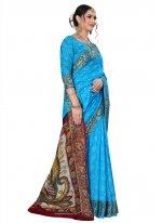 Printed Fancy Fabric Firozi Traditional Saree