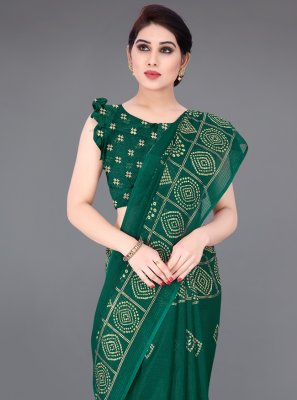 Printed Fancy Fabric Printed Saree in Green