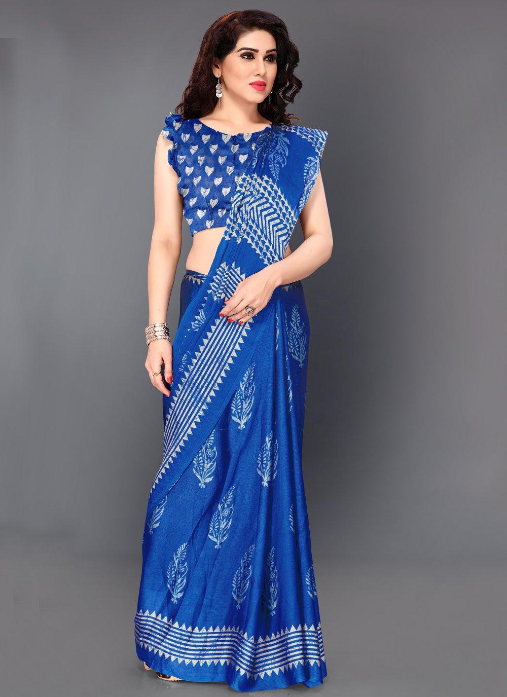 Printed Faux Chiffon Blue Bollywood Saree