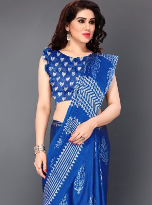 Printed Faux Chiffon Blue Bollywood Saree
