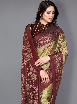 Printed Faux Chiffon Multi Colour Traditional Saree