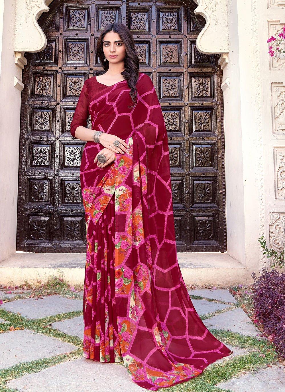 Printed Faux Chiffon Printed Saree in Multi Colour