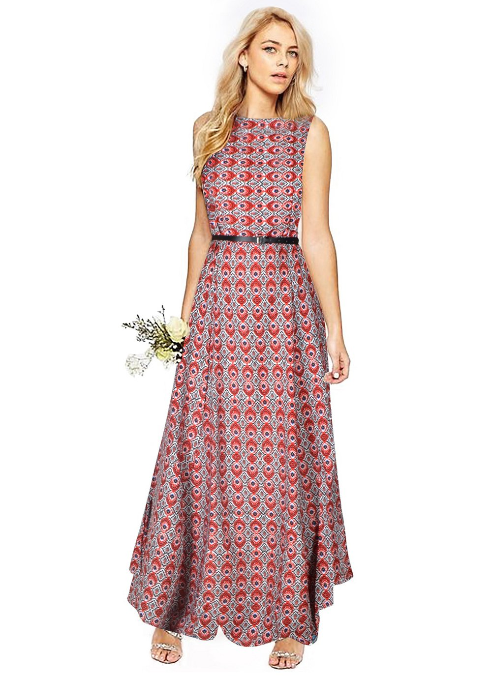 Printed Faux Crepe Floor Length Kurti