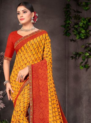Printed Faux Georgette Orange and Red Saree