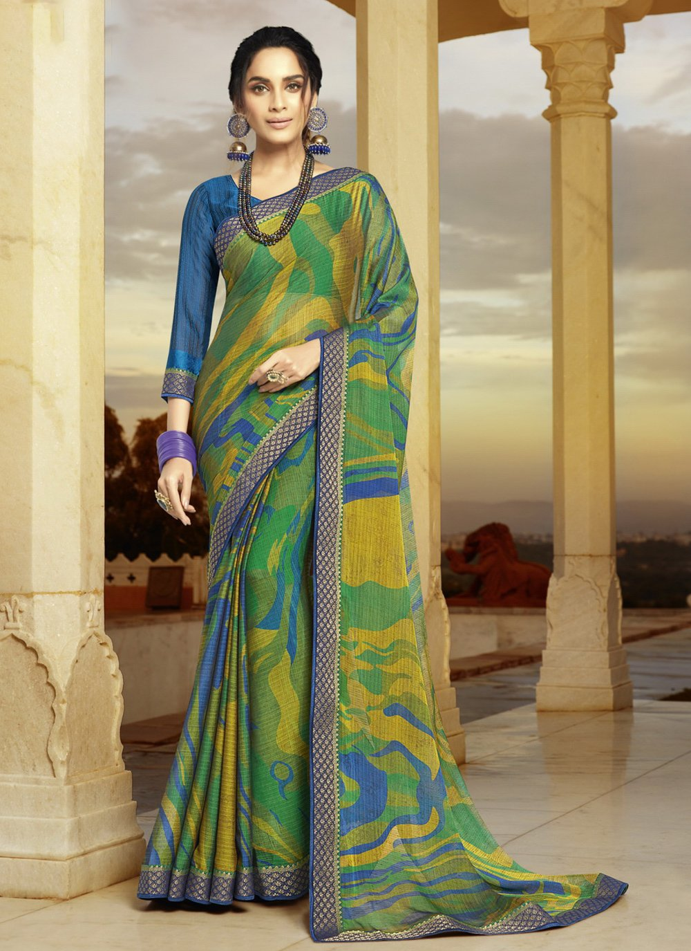 Printed Faux Georgette Shaded Saree in Multi Colour