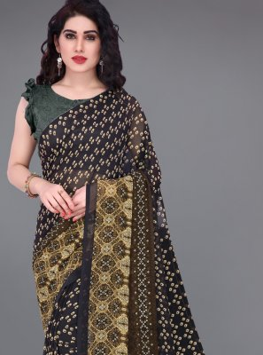 Printed Faux Georgette Traditional Saree in Multi Colour