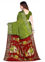 Printed Green Art Silk Traditional Designer Saree
