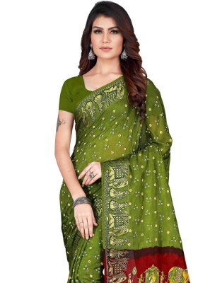Printed Green Art Silk Traditional Designer Saree