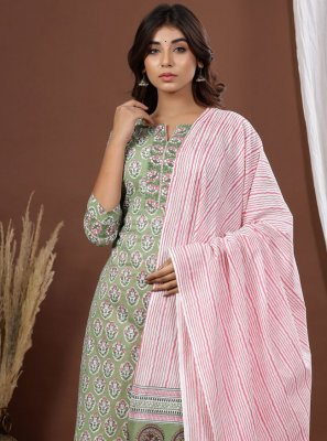 Printed Green Cotton Readymade Suit
