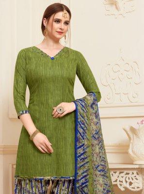 Printed Green Designer Patiala Suit