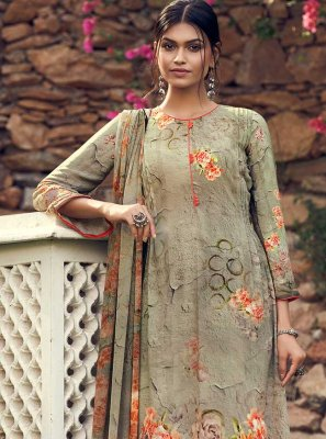 Printed Green Palazzo Suit
