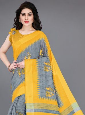 Printed Grey and Yellow Printed Saree