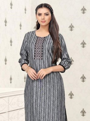 Printed Grey Party Wear Kurti