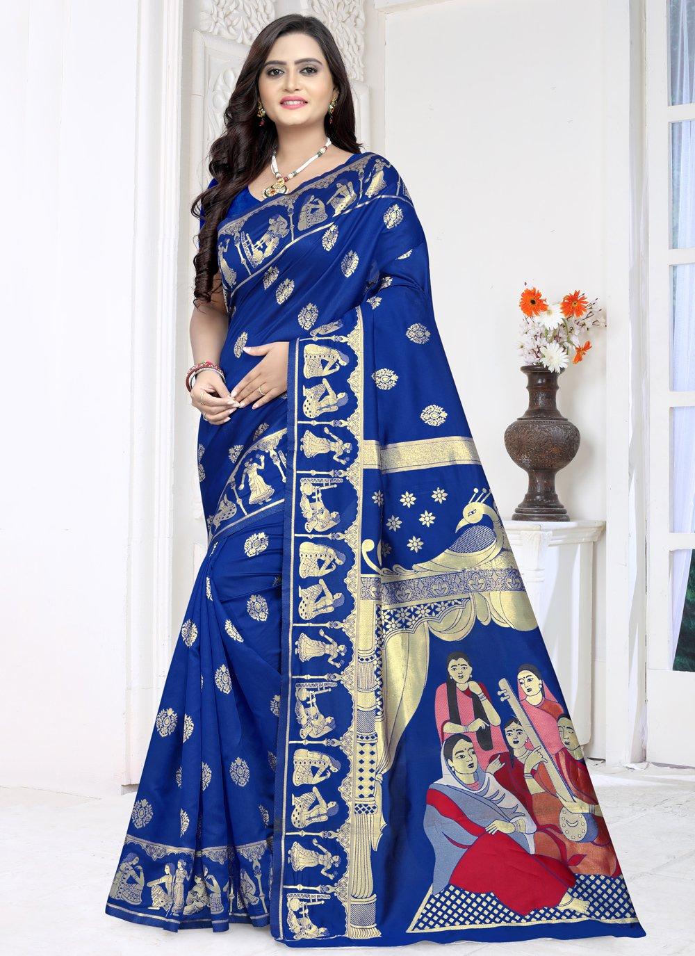 Printed Jacquard Blue Bollywood Saree