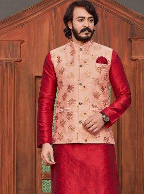 Printed Jacquard Silk Kurta Payjama With Jacket in Peach and Red