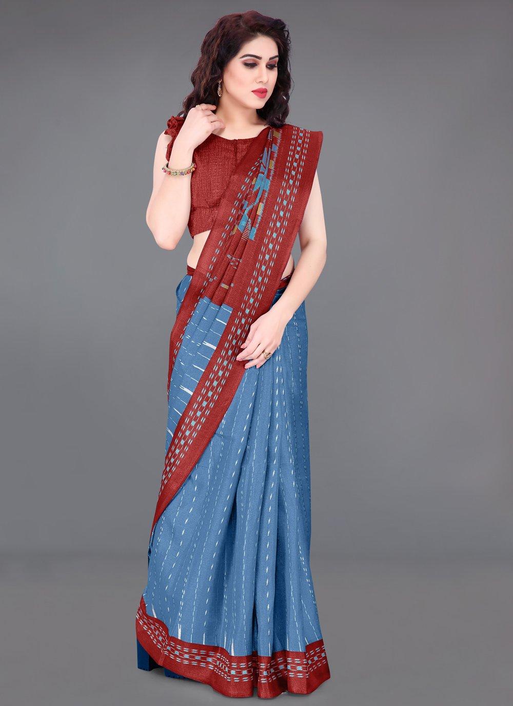 Printed Khadi Silk Blue and Maroon Printed Saree