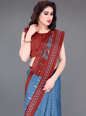 Printed Khadi Silk Blue and Maroon Printed Saree
