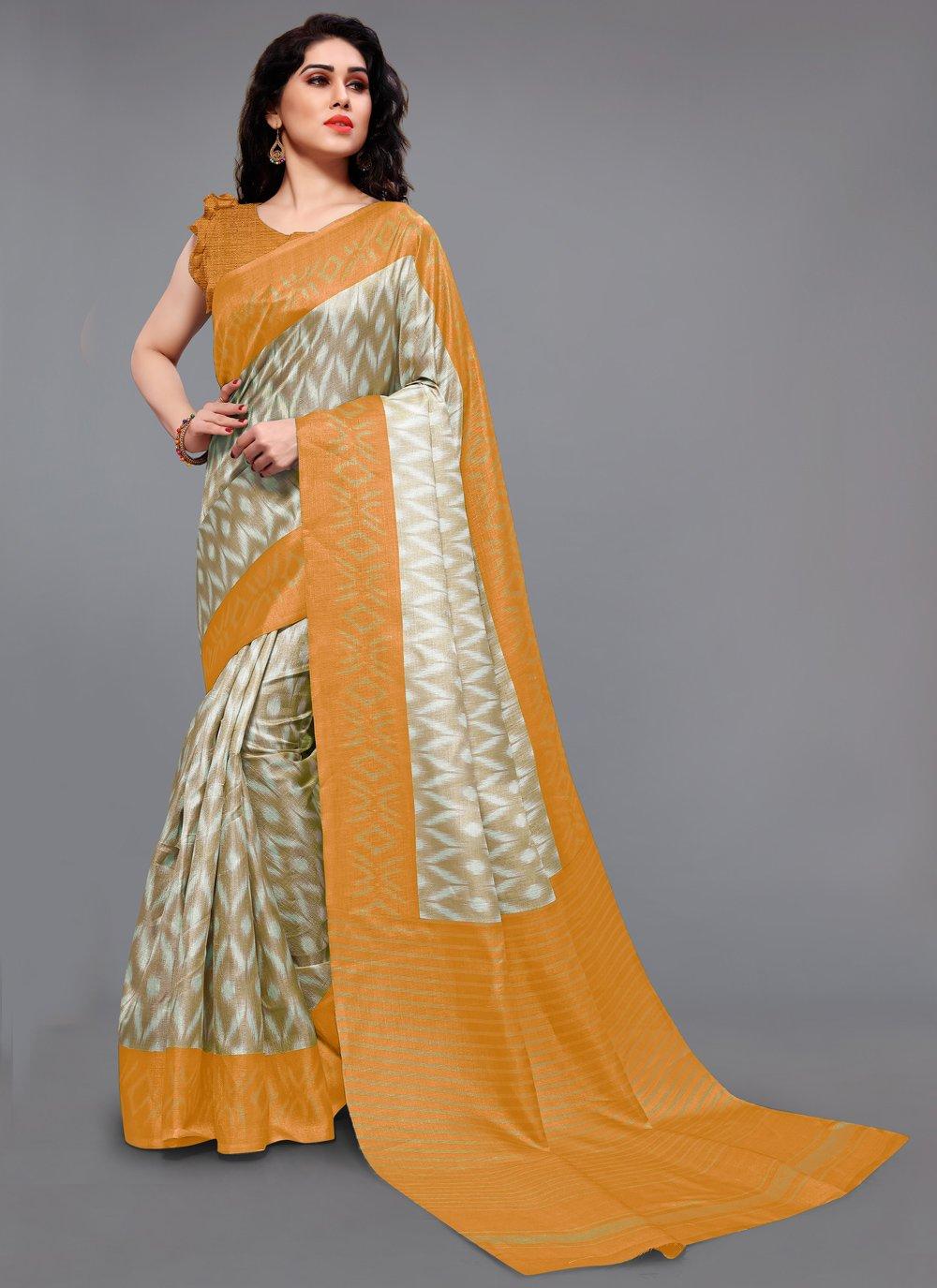 Printed Khadi Silk Printed Saree