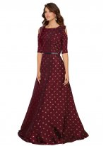 Printed Maroon Tafeta Silk Floor Length Gown