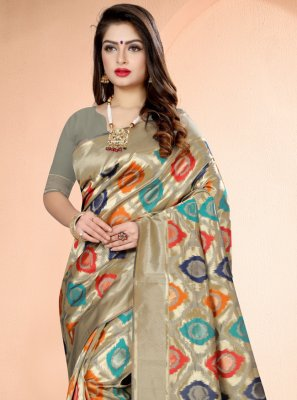 Printed Multi Colour Art Banarasi Silk Designer Traditional Saree