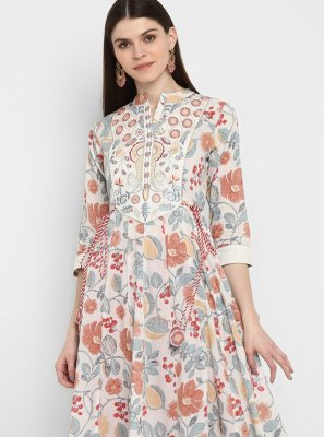 Printed Multi Colour Cotton Party Wear Kurti