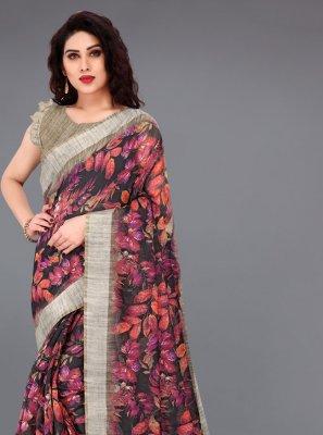 Printed Multi Colour Cotton Printed Saree