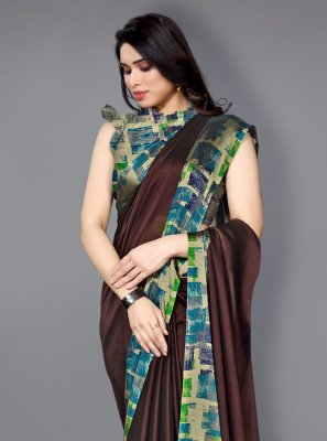 Printed Multi Colour Faux Chiffon Traditional Saree