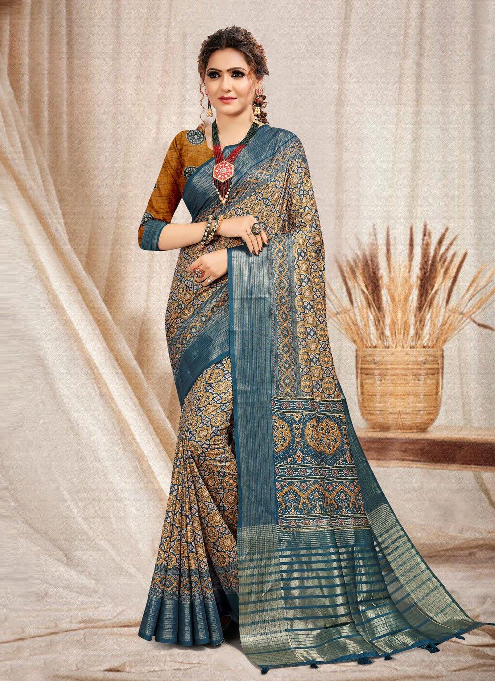 Printed Multi Colour Trendy Saree