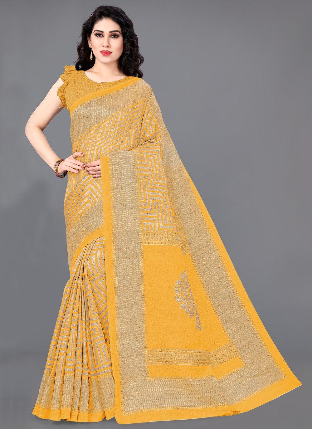Printed Mustard Khadi Silk Trendy Saree