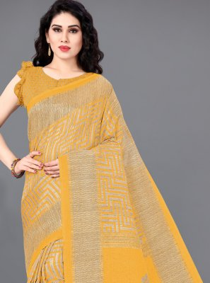 Printed Mustard Khadi Silk Trendy Saree